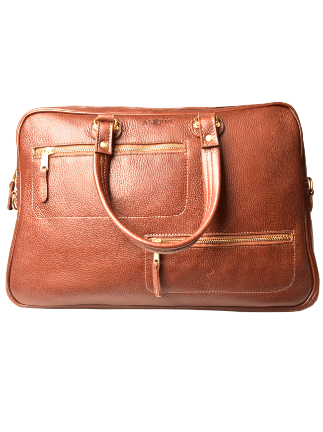 Zippered Briefcase with handles and shoulder strap