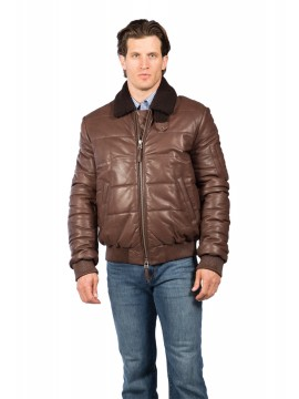 Puffy Lambskin Leather Jacket