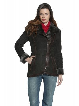 Julia Hooded Shearling Coat